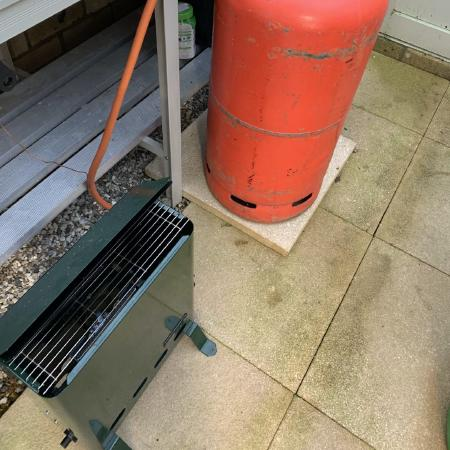 Propane heater with temperature probe and 19kg canister.