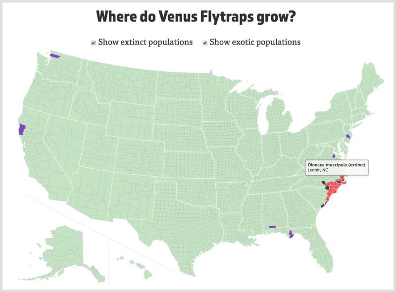 The Interactive Venus Flytrap Map showing the distribution of Dionaea muscipula.